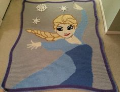 Frozen themed blanket.   Find it on Facebook/Maggiescloset09