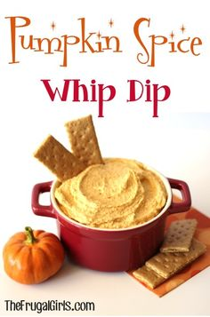 Pumpkin Spice Whip Dip. 1 can Libby's 100% Pure Pumpkin {15 oz.} 2 boxes Jell-O Vanilla Instant Pudding Mix {3.4 oz. each} Cool Whip {8 oz.} 1 tsp. Pumpkin Pie Spice Thaw Cool Whip in refrigerator for 4 hours. Once Cool Whip has thawed, mix together Pumpkin, Pumpkin Pie Spice, Cool Whip, and 2 boxes of dry Vanilla Pudding Mix. Serve with Graham Crackers or Nilla Wafers.