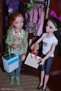 Ellowyne Wilde dolls using Liberty Jane printable bags for 100 Days of Doll Play