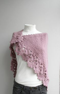 Knit Shawl with Crochet Edge - an incredible pairing.