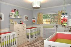 Gray, Coral and Lime Green Triplet Nursery -#sharedroom #triplets #nursery