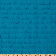 Stretch Ruffle Knit Turquoise from @fabricdotcom  This fun and flirty stretch knit fabric features horizontal ruffles that run from selvedge to selvedge and ruffles measure about 1''. Fabric has four way stretch for added comfort and ease and about 40% stretch across the grain. It is perfect for tops, costumes, flirty lingerie, skirts, diaper covers and more!