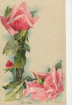 T07 1904 Postcard Catherine Klein Floral Artist Signed Alphabet Letter L | eBay