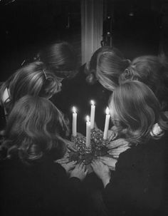 """six high school girls re-enacting solemn, secret initiation ritual by candlelight for photographer because only a real member has ever seen the real thing."" taken by Nina Leen, Life Magazine 1944"