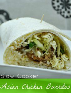 These Slow Cooker Asian Chicken Burritos put an Asian twist on your typical Mexican burrito recipe. Adding soy sauce, Chinese cole slaw, green onions and ramen noodles to the burrito help to elevate it to a new and exciting flavor level.