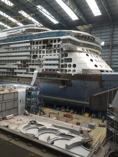 June 18 2014 - Tourist photo of Royal Caribbean International's Quantum of the Seas build and Anthem of the Seas blocks inside Hall 6 at Meyer Werft Papenburg. In foreground - block from deck 14 Solarium.