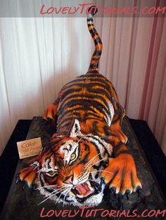 Tiger cake tutorial cake tutori, amaz tutori, cakes, tiger cake, amaz tiger, cake decor, 3d cake, amaz cake, cake artistri