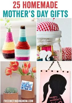 25 Homemade Mother's Day Gifts - Fingerprint candles, candle holders, mason jar craft ideas | #mothersday crafts