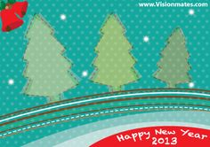 Happy New Year 2013 with Christmas green tree illustration design and red Christmas jingle bells. Premium Christmas tree mountain design in Adobe Illustrator