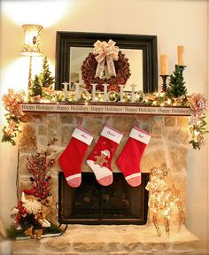 Love the ribbon framing the mantle!