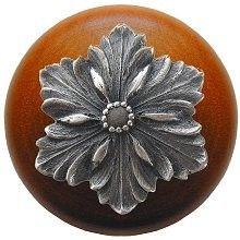 Opulent Flower Wood Knob (Cherry) with Antique Pewter inlay    $12.27