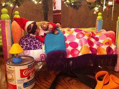 Elf on a Shelf ideas.  Too cute!