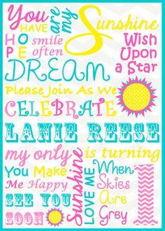 you are my sunshine theme party | You Are My Sunshine Invitation - Subway Art - Chevron Turquoise ...