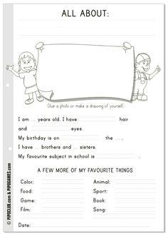 "Worksheet ""All about me"" #English  #kids #ESL #Education #preschool #Kinder #Pipo #backtoschool"
