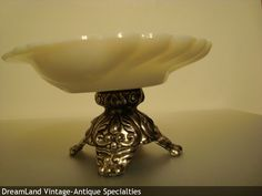 milk glass silver base - MAKE $ OFFER DreamLandSpecialties@comcast.net