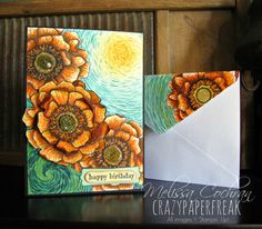 Stampin' Up! Happy Birthday card created by Melissa Cochran @ crazypaperfreak.blogspot.com ~ Blended Blooms, Sunflowers, Sunshine, Art Inspired, Van Gogh, Handmade, Greeting Card, Envelope