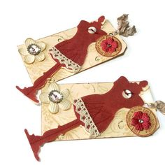 Gift Tags/Set of 2/FREE US SHIPPING/Red Dress by valburgesscollage, $5.00