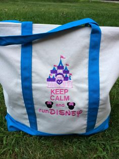 Keep Calm and Run Disney Embroidered Canvas Bag