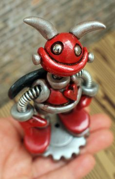 Valentine Baby Devil Robot Bert  Clay Wire by RobotsAreAwesome, $30.00