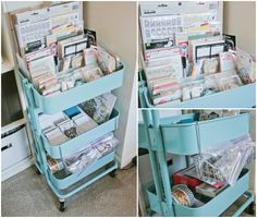 Craft storage for scrapbooking materials with ikea cart...