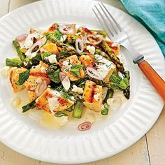 Grilled Chicken-Asparagus Salad | This hearty salad is brightened up with mint, lemon juice, and fresh dill. | SouthernLiving.com