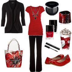 game day outfits, black outfits, polyvore work outfits, red work outfit, christmas outfits, shoe