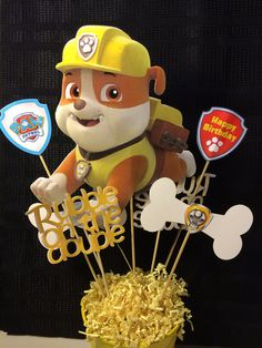 Paw Patrol Rubble party Centerpiece Natalie will LOVE this.