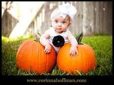 Baby picture with pumpkins for Halloween. www.corinnahoffman.com