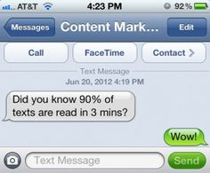 Should text messaging be part of your content.  Great insights on today's Content Marketing Institute post!