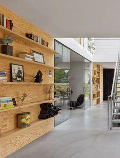 architects, plywood, interiors, hous, interior architect, shelv, homes, concrete floors, i29 interior