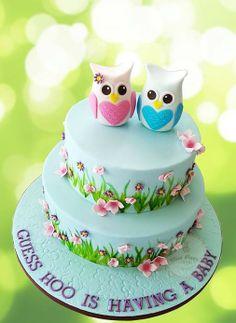 baby shower cakes, piggi cake, owl babies, owl cakes, flower, babi shower, baby showers