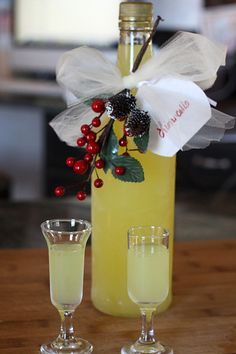 Homemade Limoncello- Homemade Christmas Gift...or keep a bottle in the freezer to add to dessert recipes.