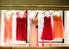 hues of peach and coral bridesmaid dresses