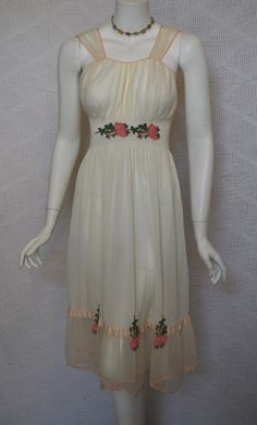 1950s Ivory Nightgown Formfit Nylon with Rose Appliques