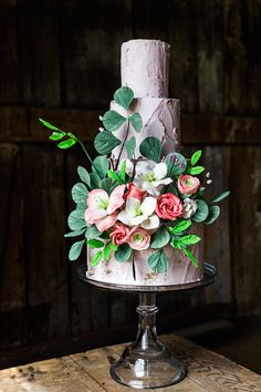 Lilac Butter-Cream Floral Cake