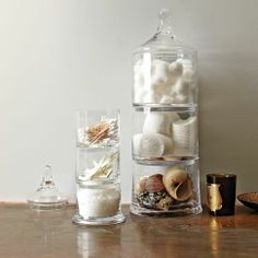 West Elm stacked glass apothecary jars, starting from $34.00