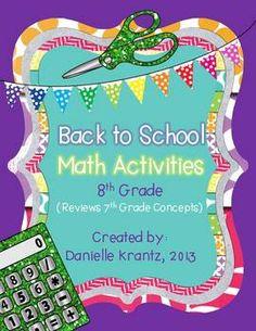 8th Grade Math Back to School Activities