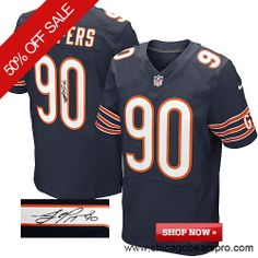 $129.99 Men's Nike Chicago Bears #90 Julius Peppers Elite Team Color Blue NFL Alternate Autographed Jersey