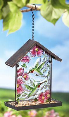 Glass Hummingbird Bird Feeder