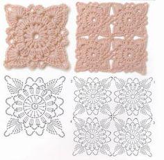 crochet flowers, crochet motif pattern, crocheted squares, crochet stitch, crochet squares, chart, motif crochet, crochet motifs, crochet square motif