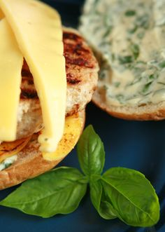 Apple Chicken Burgers with Basil and Gouda
