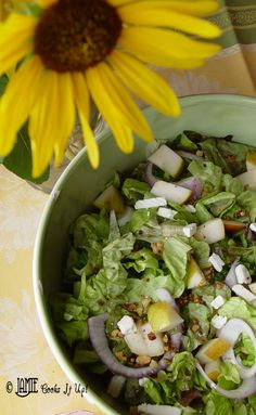 This is the perfect fall salad! Green Salad with Pears and Cinnamon Pecans from Jamie Cooks It Up! #healthyrecipes, #yummysalad, #jamiecooksitup