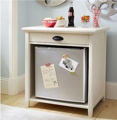 Dorm room!! Use a night stand and put mini fridge!
