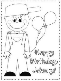 Johnny Appleseed coloring page FREE