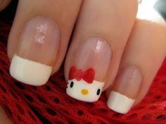 from youtube from cutepolish hello kitti, french manicures, china glaze, nail designs, kitti nail, nail arts, nail tutorials, daughters, hello kitty nails