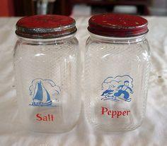 Hazel Atlas Glass ~ Dutch Salt and Pepper Shakers from treasuresfrommiiesa on Ruby Lane