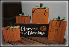 Harvest Blessing sign and wood pumpkins