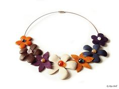 Leather Floral Bouquet Necklace Tangerine Brown by BijuBrill