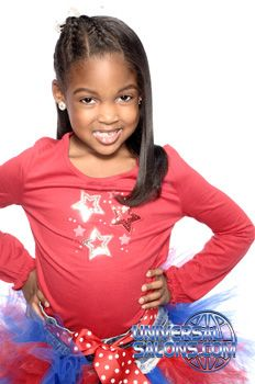 young girl style; 1/2 braid; 1/2 straight; red leotard; Black Hair Salons, Styles and Models - Universal Salon