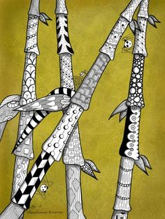 Alien bamboo zendoodle, by Danielle Vayda.